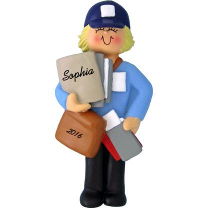woman mail carrier blonde personalized christmas ornament
