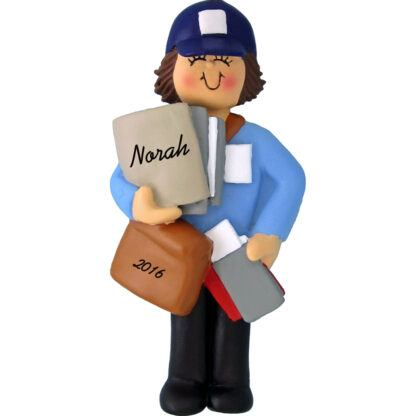 woman mail carrier personalized christmas ornament
