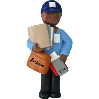 mailman african american personalized christmas ornament