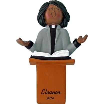 minister female african american personalized christmas ornament