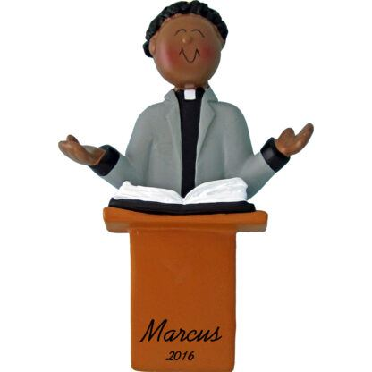 minister male african american personalized christmas ornament