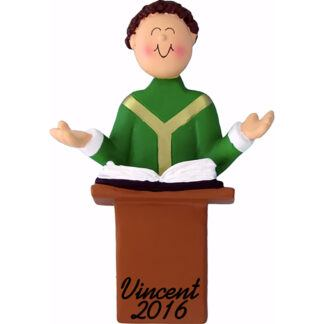 priest brunette personalized christmas ornament