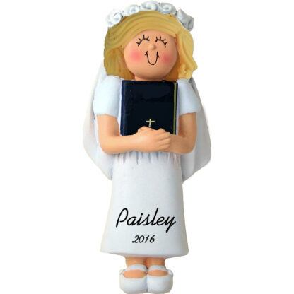 first holy communion blonde girl personalized christmas ornament