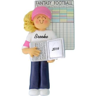 fantasy football female personalized christmas ornament