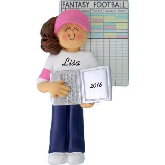 fantasy football female brown personalized christmas ornament