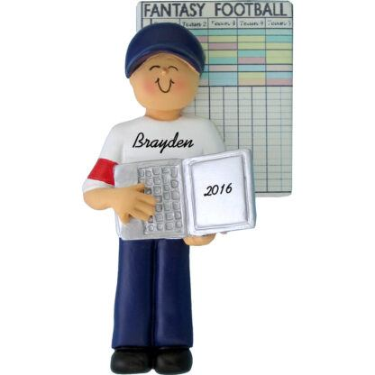 fantasy football male personalized christmas ornament