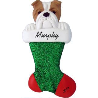 bulldog in stocking personalized dog christmas ornament