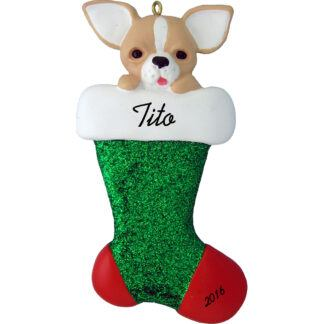 chihuahua in stocking personalized dog christmas ornament