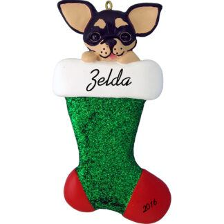 black chihuahua in stocking personalized dog christmas ornament