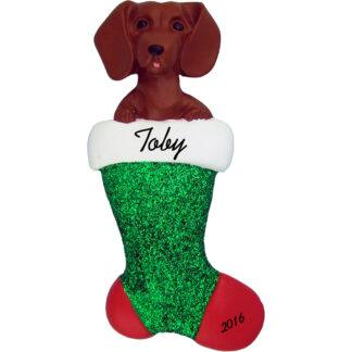 Daschund in stocking personalized dog christmas ornament
