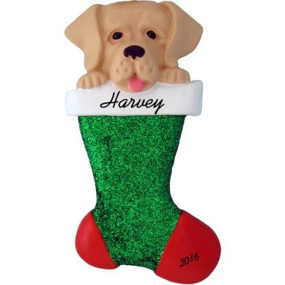 Yellow lab in stocking personalized pet christmas ornament