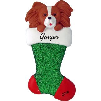 Papillon in stocking personalized pet christmas ornament