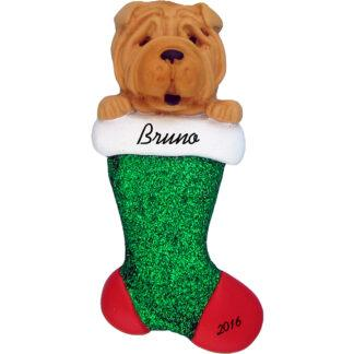 shar pei in stocking personalized pet christmas ornament