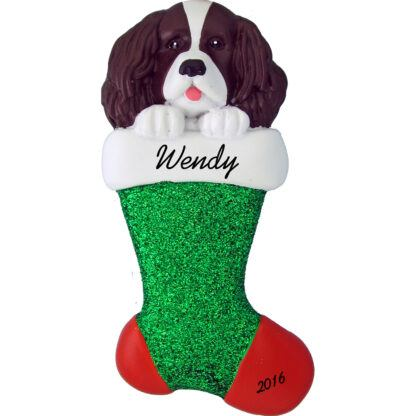 spaniel in stocking personalized pet christmas ornament