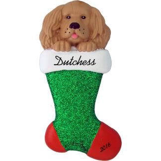 tan spaniel in stocking personalized pet christmas ornament