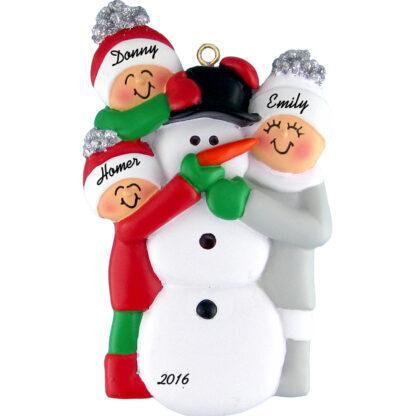building snowman 3 people