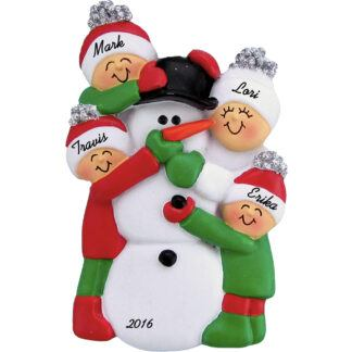 building snowman 3 people personalized family christmas ornament