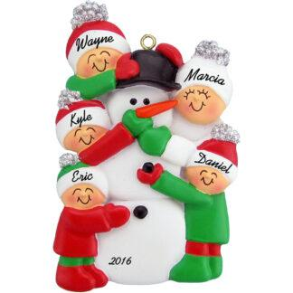 building snowman 5 people personalized family christmas ornament