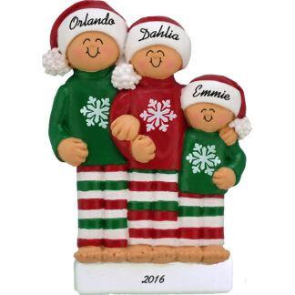 pajamas family of 3 personalized christmas ornament