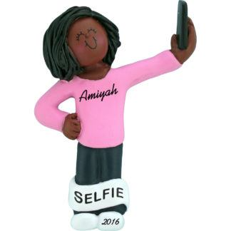 selfie girl african american personalized christmas ornament