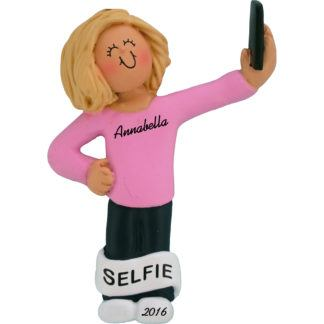 selfie girl blonde personalized christmas ornament