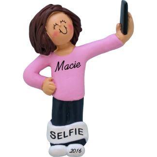 selfie girl brunette personalized christmas ornament