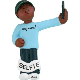 selfie male african american personalized christmas ornament