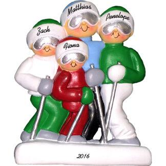 skiing family of 4 personalized christmas ornament