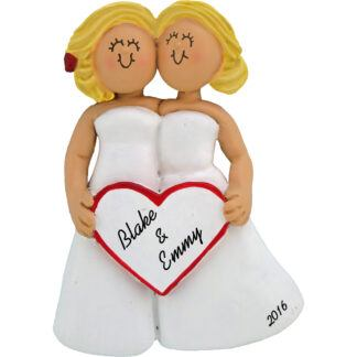 same sex wedding female blondes personalized christmas ornament