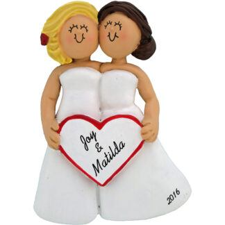 same sex wedding female blonde and brunette personalized christmas ornament