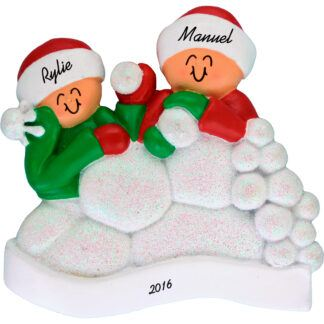 snowball fight 2 people personalized christmas ornament