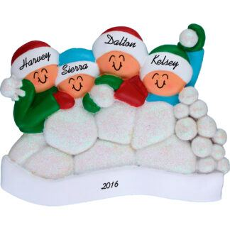 snowball fight for 4 people personalized christmas ornament