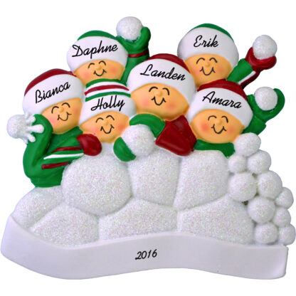 snowball fight for 6 people ornament personalized christmas ornament