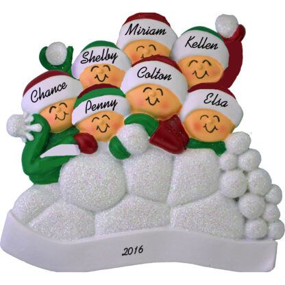 snowball fight for 7 people personalized christmas ornament