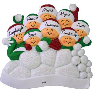 snowball fight ornament 8 people personalized christmas ornament