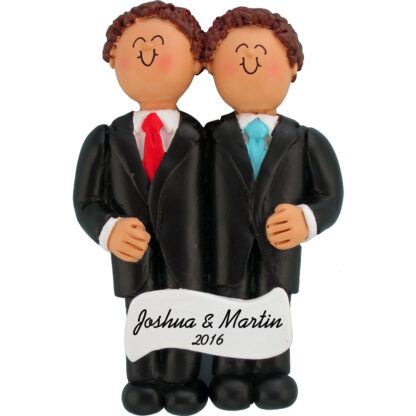 Same Sex Wedding both brown hair personalized christmas ornament