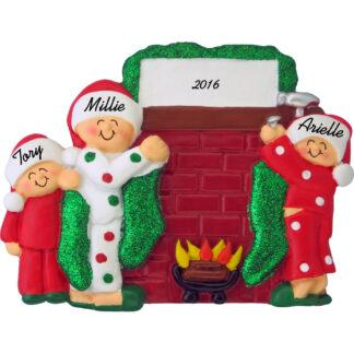 hanging stockings family of 3 personalized christmas ornament