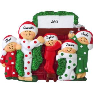 hanging stockings family of five personalized christmas ornament