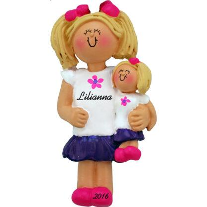 girl with doll blonde personalized christmas ornament