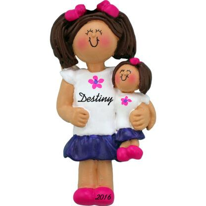 girl with doll personalized christmas ornament