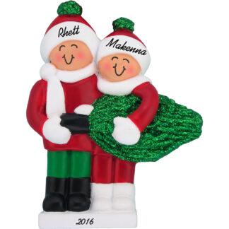 couple christmas tree personalized christmas ornament