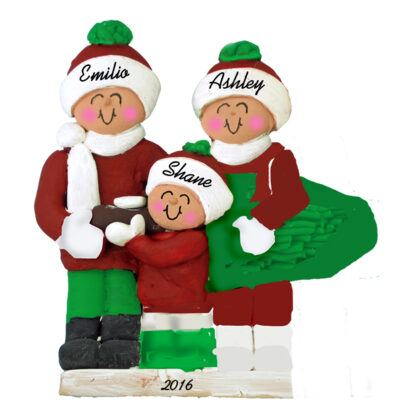 family of three christmas tree personalized christmas ornament