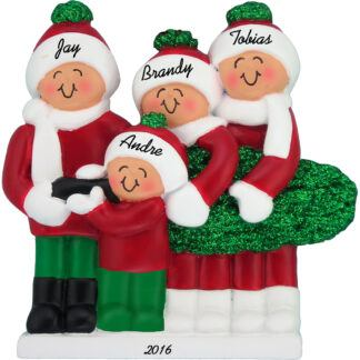 family of four christmas tree personalized christmas ornament