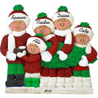family of five christmas tree personalized christmas ornament