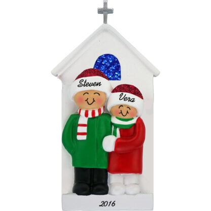 couple at church personalized christmas ornament