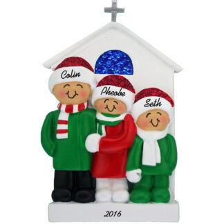 church family of three personalized christmas ornament