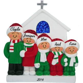 family of five church personalized family christmas ornament