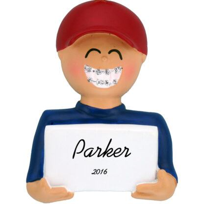American Boy with Braces personalized christmas ornament