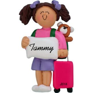 girl with suitcase brunette personalized christmas ornament