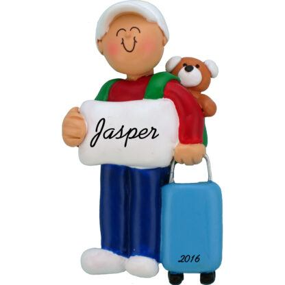 Boy with suitcase personalized christmas ornament